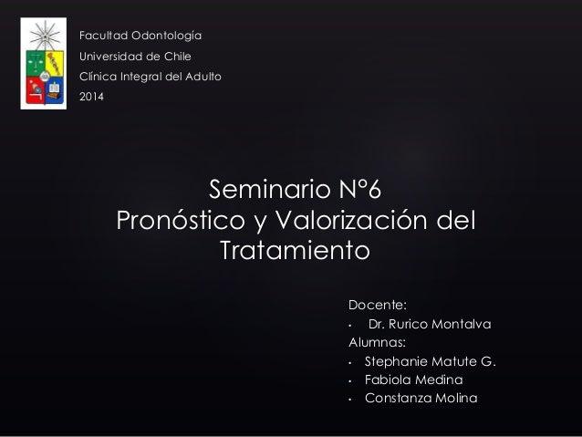 Docente: • Dr. Rurico Montalva Alumnas: • Stephanie Matute G. • Fabiola Medina • Constanza Molina Facultad Odontología Uni...