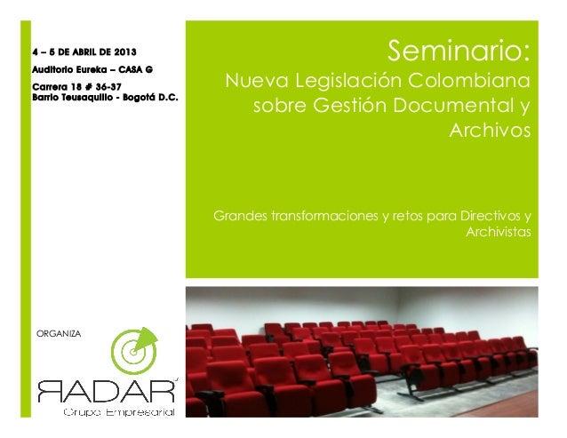 4 – 5 DE ABRIL DE 2013Auditorio Eureka – CASA G                                                              Seminario:Car...