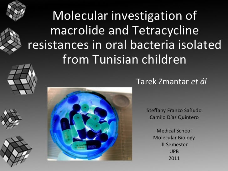 Tarek Zmantar  et ál Molecular investigation of macrolide and Tetracycline resistances in oral bacteria isolated from Tuni...