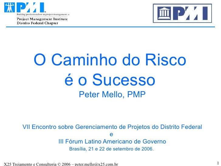 O Caminho do Risco  é o Sucesso  Peter Mello, PMP VII Encontro sobre Gerenciamento de Projetos do Distrito Federal e  III ...