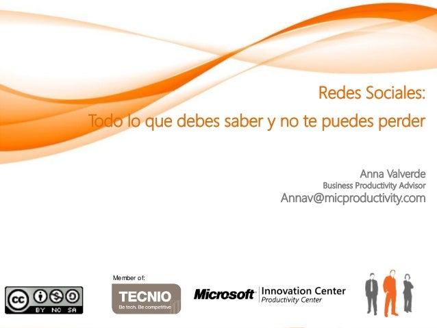 Redes Sociales:Todo lo que debes saber y no te puedes perder                                          Anna Valverde       ...