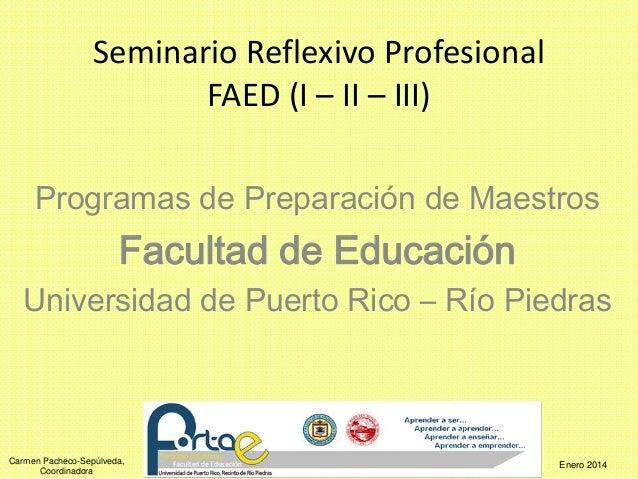 Seminario Reflexivo Profesional  Carmen Pacheco-Sepúlveda,  Coordinadora  FAED (I – II – III)  Programas de Preparación de...