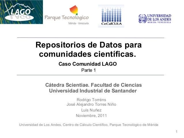 Repositorios de Datos para comunidades científicas. Caso Comunidad LAGO  Repositorios de Datos para comunidades científica...