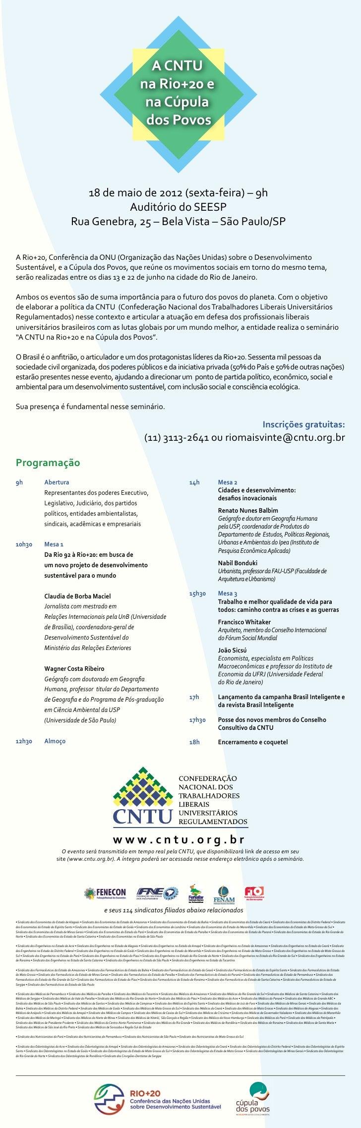 18 de maio de 2012 (sexta-feira) – 9h                                                     Auditório do SEESP              ...