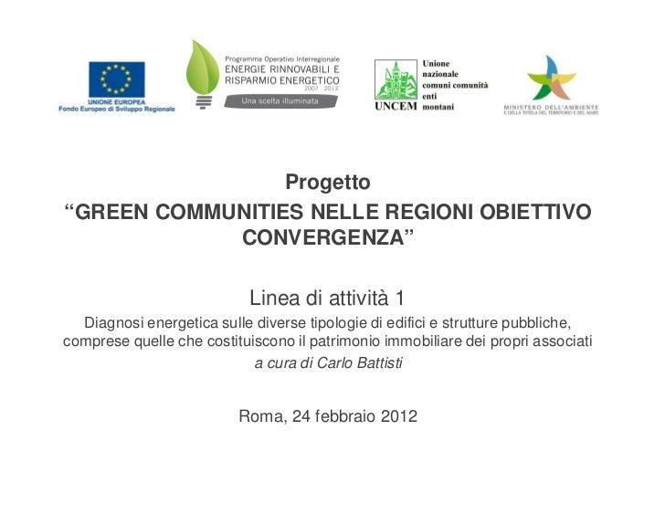 """Progetto""""GREEN COMMUNITIES NELLE REGIONI OBIETTIVO            CONVERGENZA""""                            Linea di attività 1 ..."""