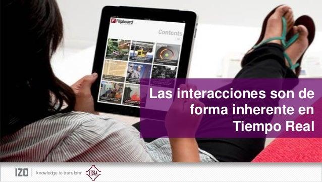 Las interacciones son de forma inherente en Tiempo Real  knowledge to transform