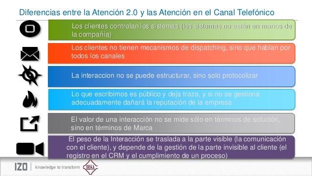 Diferencias entre la Atención 2.0 y las Atención en el Canal Telefónico Los clientes controlan los sistemas (los sistemas ...