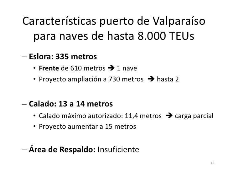 Características puerto de Valparaíso  para naves de hasta 8.000 TEUs– Eslora: 335 metros   • Frente de 610 metros  1 nave...