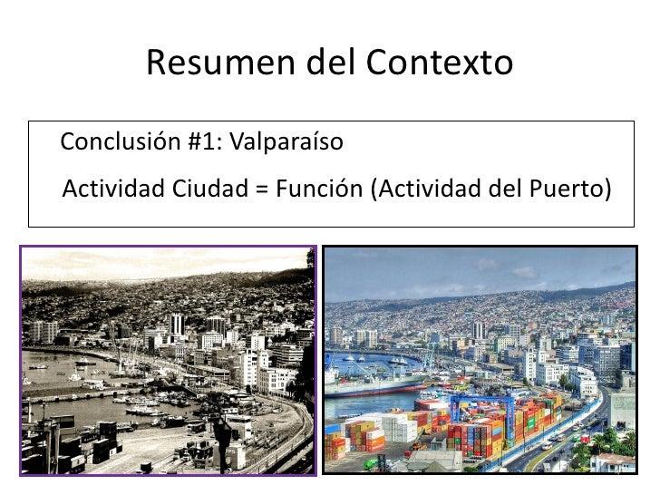 Resumen del ContextoConclusión #1: ValparaísoActividad Ciudad = Función (Actividad del Puerto)                            ...