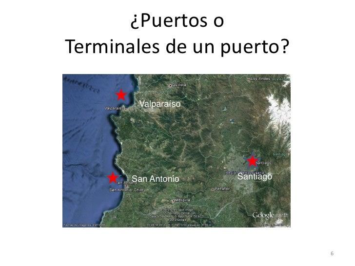¿Puertos oTerminales de un puerto?        Valparaíso       San Antonio   Santiago                                6