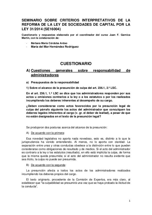 1 SEMINARIO SOBRE CRITERIOS INTERPRETATIVOS DE LA REFORMA DE LA LEY DE SOCIEDADES DE CAPITAL POR LA LEY 31/2014 (SE16004) ...