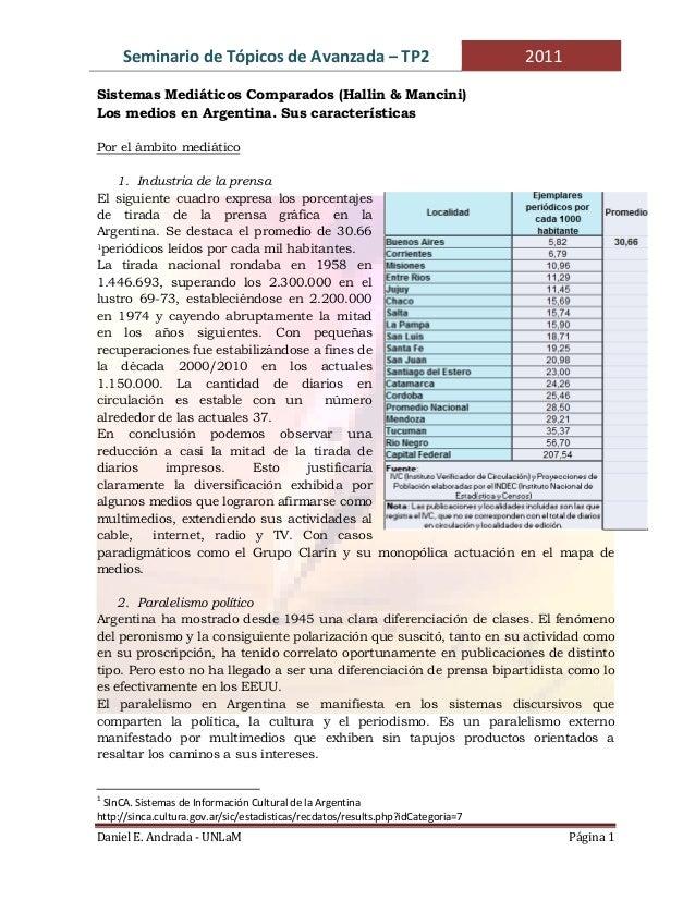 Seminario de Tópicos de Avanzada – TP2  2011  Sistemas Mediáticos Comparados (Hallin & Mancini) Los medios en Argentina. S...