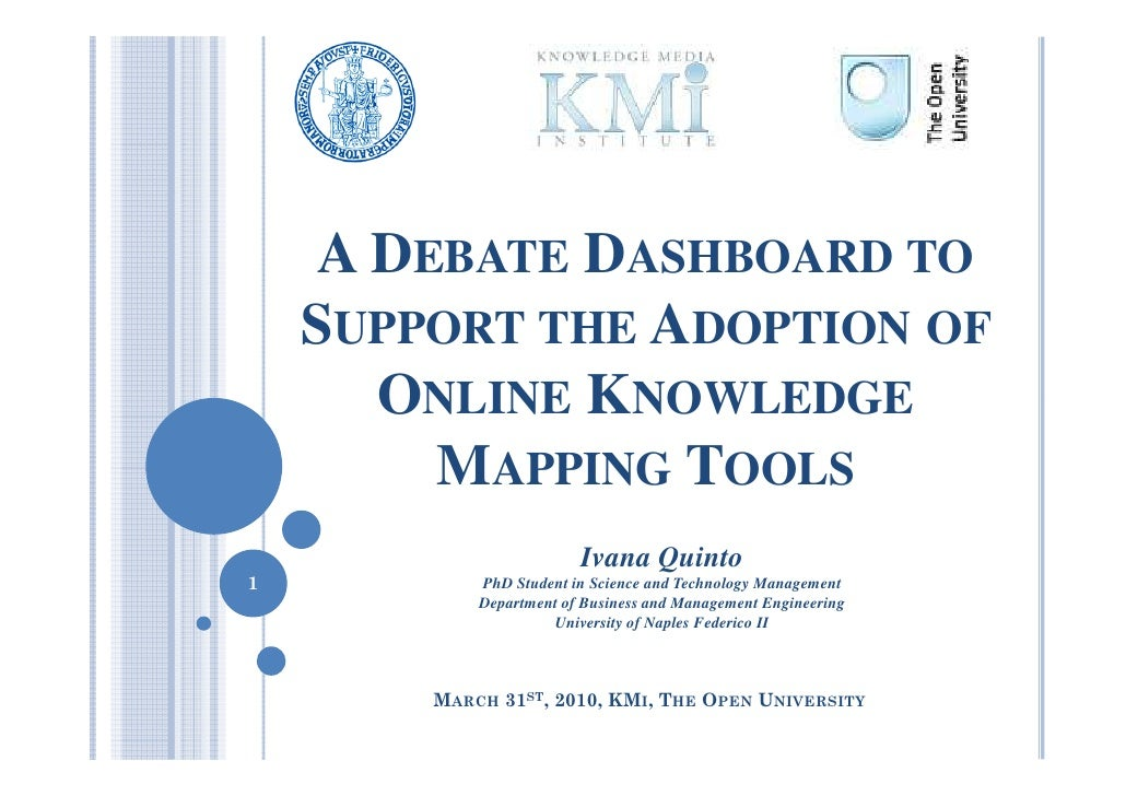 A DEBATE DASHBOARD TO     SUPPORT THE ADOPTION OF       ONLINE KNOWLEDGE         MAPPING TOOLS                          Iv...