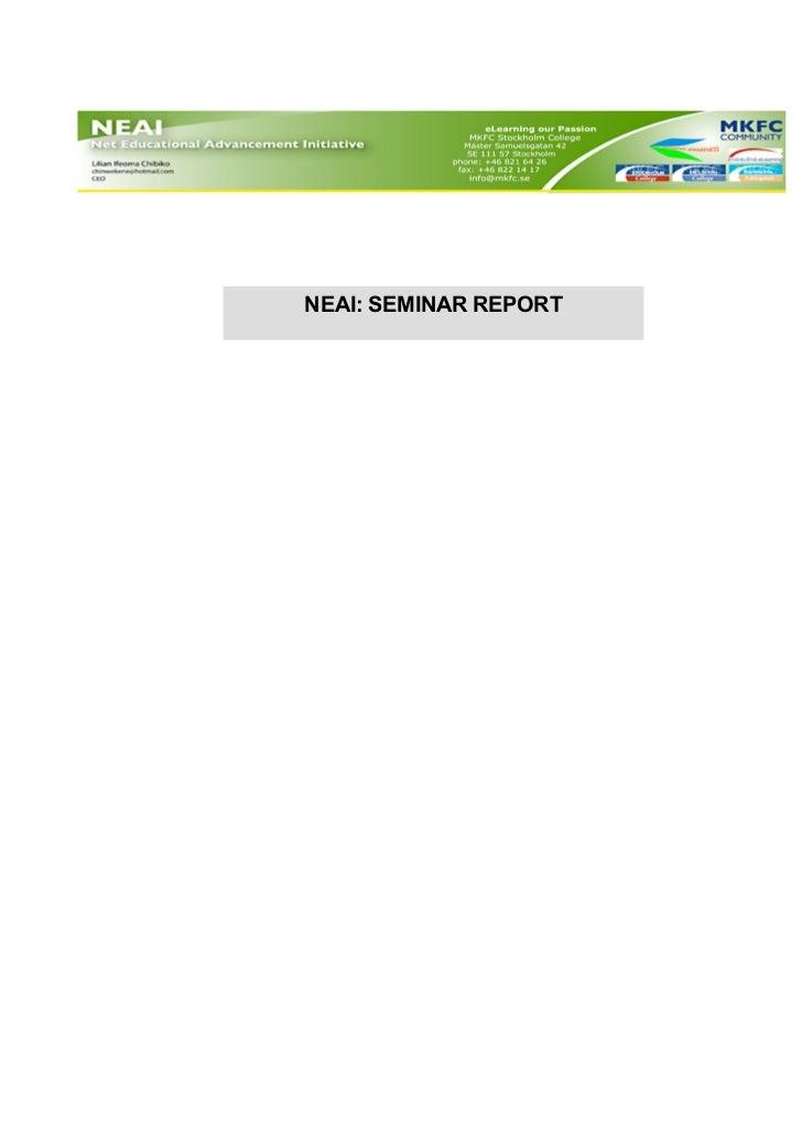 NEAI: SEMINAR REPORTACTIVITY REPORT TEMPLATE
