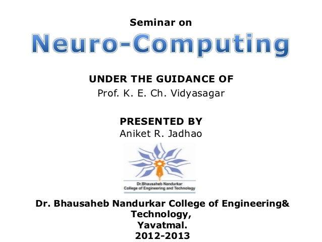 Seminar on         UNDER THE GUIDANCE OF          Prof. K. E. Ch. Vidyasagar               PRESENTED BY               Anik...