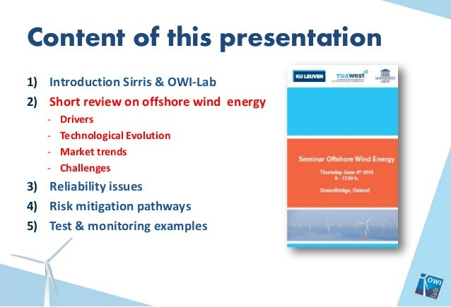 Guest speaker presentation at 'Seminar Offshore Wind Energy