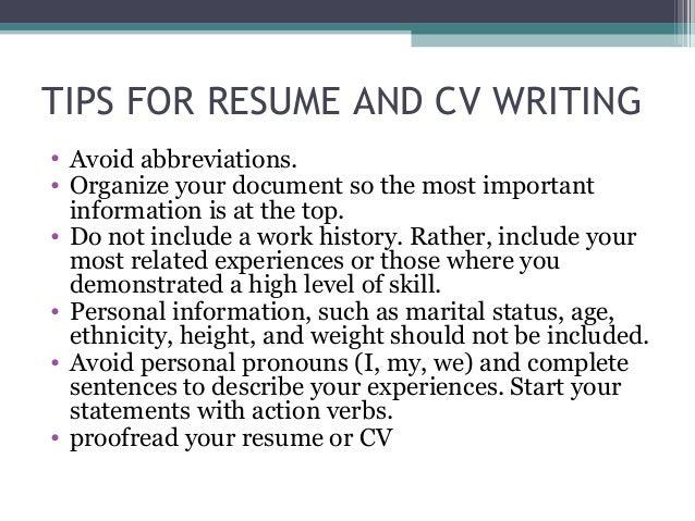 16. TIPS FOR RESUME ...