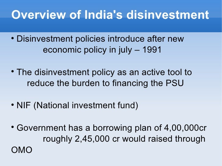 Disinvestment policy in india 1991 trading gbp usd forex
