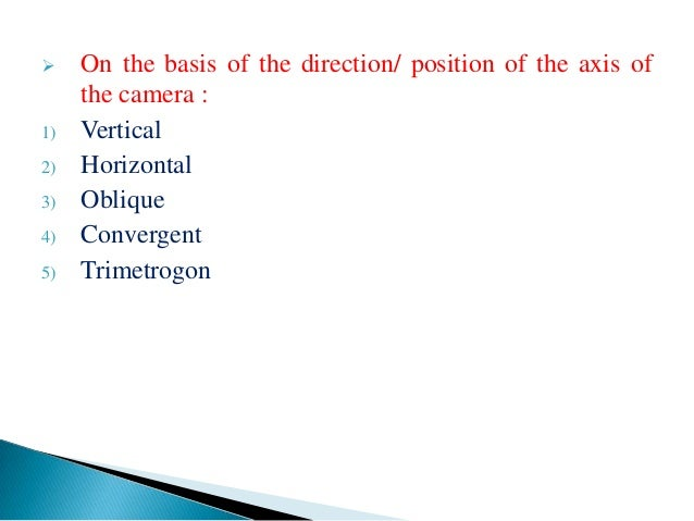 Geometry and types of aerial photographs
