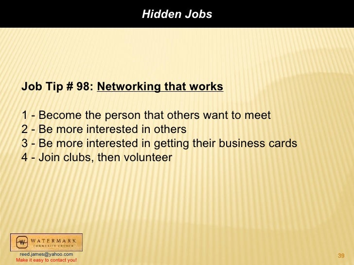 Seminar on hidden jobs