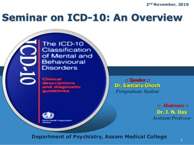 LOGO Seminar on ICD-10: An Overview :: Moderator :: Dr. J. N. Das Assistant Professor :: Speaker :: Dr. Santanu Ghosh Post...