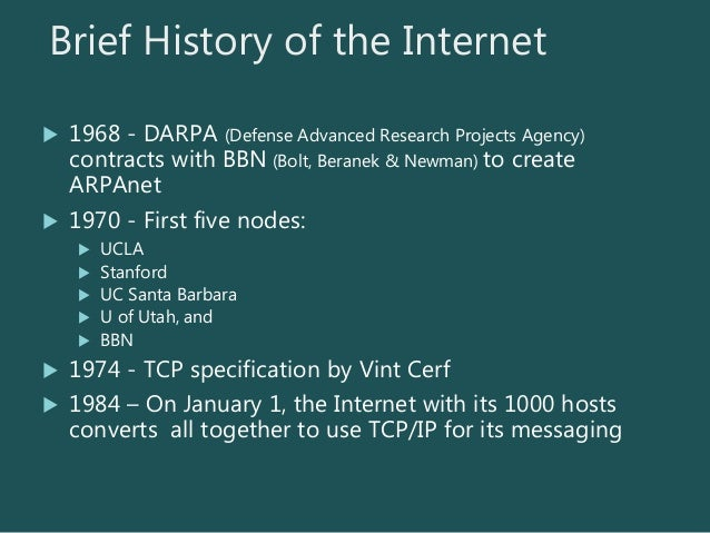 the history of advanced research projects agency network arpanet and the internet Arpanet (advanced research projects agency network) the research network funded by the us advanced research projects agency (arpa) as tcp/ip and gateway technologies matured, more disparate networks were connected, and the arpanet became known as the internet and the net starting in 1987.