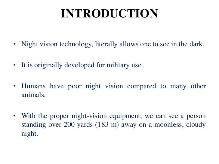 Night vision technology night vision technology ppt pdf night.