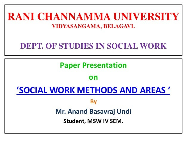 Social Work Methods and Areas