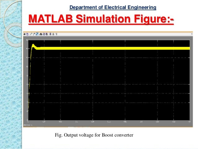 MATLAB Simulation Figure:- Fig. Output voltage for Boost converter Department of Electrical Engineering