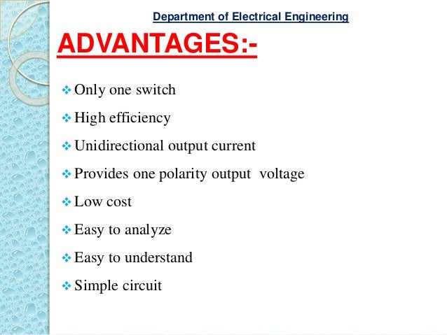 ADVANTAGES:-  Only one switch  High efficiency  Unidirectional output current  Provides one polarity output voltage  ...