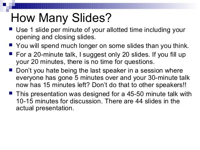 how many slides for a 5 minute presentation