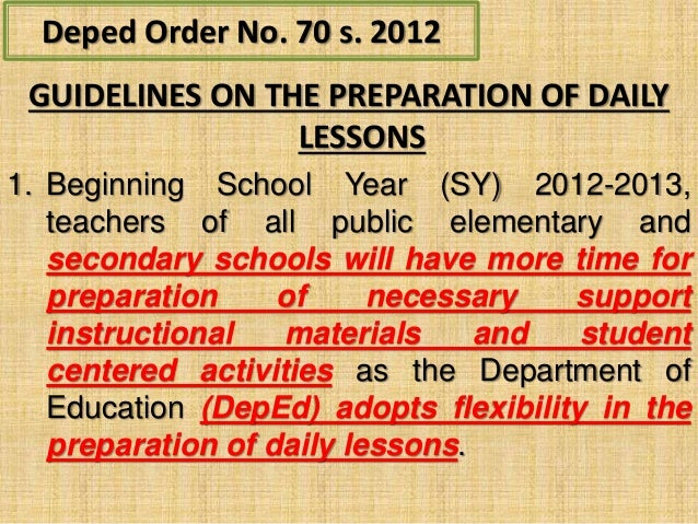 deped order no 73 s 2012