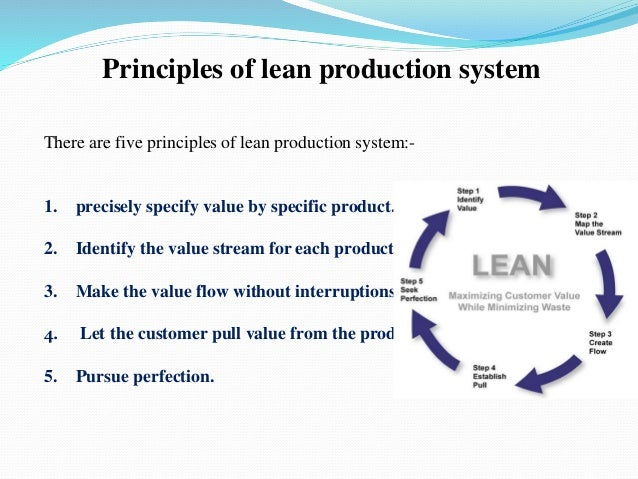 "lean production Lean manufacturing or lean production, often simply lean,"" is a systematic  method for the elimination of waste within a manufacturing system working from  the."