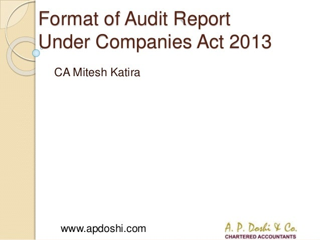 Www.apdoshi.com Format Of Audit Report Under Companies Act 2013 CA Mitesh  Katira ...  Format For Audit Report