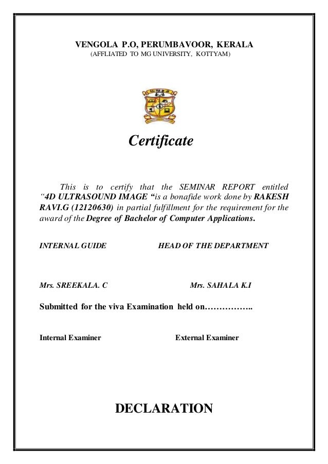 Certificate sample for seminar report choice image certificate certificate format for seminar report image collections certificate sample for seminar report image collections certificate sample yadclub Choice Image