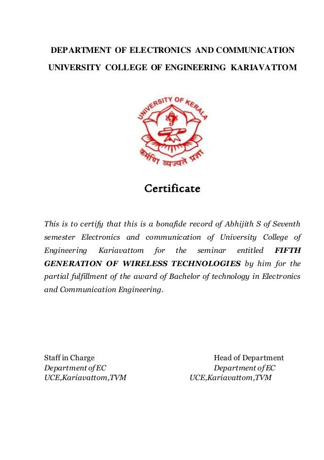 Certificate sample for seminar report image collections seminar report on fifth generation of wireless technologies format yadclub Images