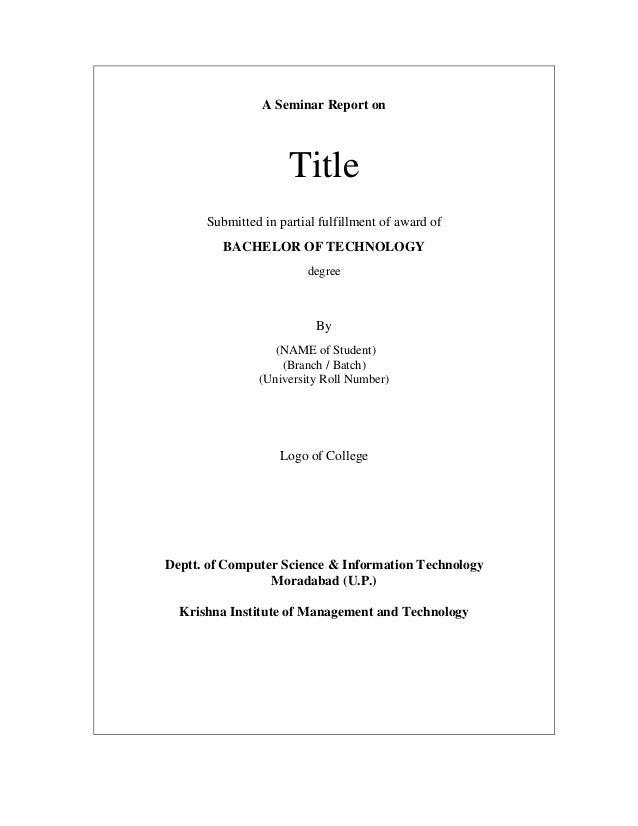 Report Writing Title Page Technical Report Writing Technical