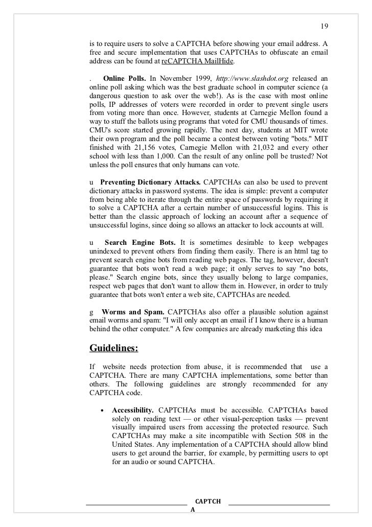 seminar report on captcha the idea captch a 19