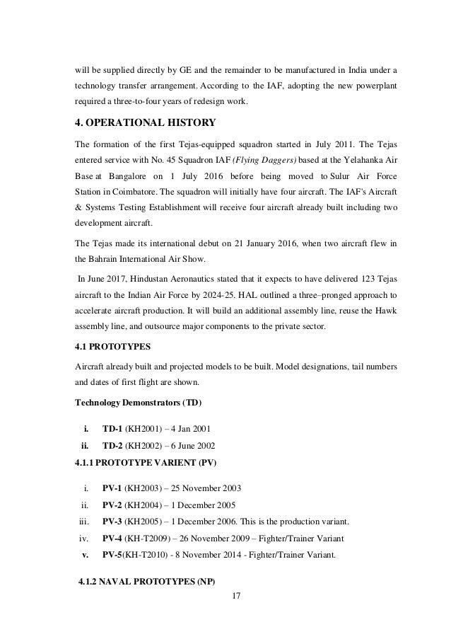 Seminar report on hal tejas(2)