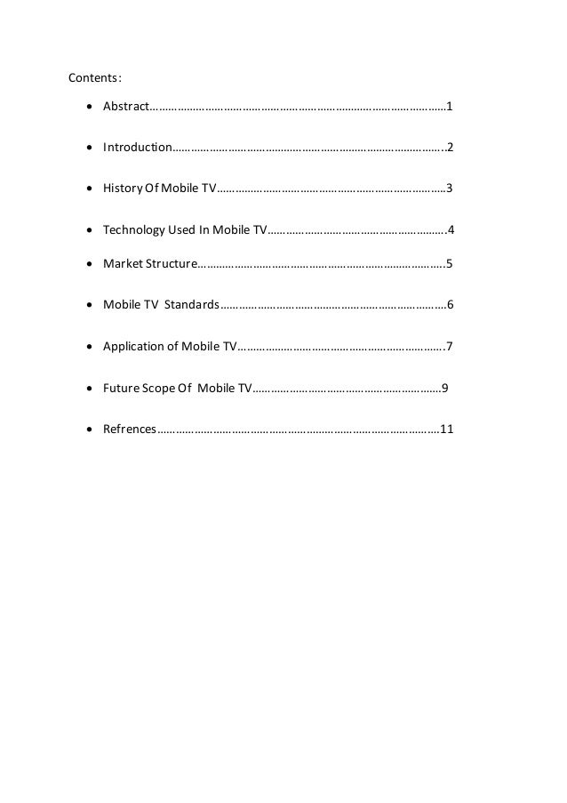 Report on mobile tv