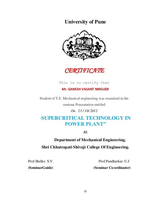 Seminar report on supercritical thenology dongare ad head of department 3 iii university of pune certificate yadclub Choice Image