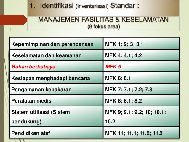Identifikasi MFK 5 ( B3) Apa yg hrs dilakukan MFK5 ? B-3 • Perencanaan • Pendidikan/Eduka si • Pelaksanaan • Respond • Mo...