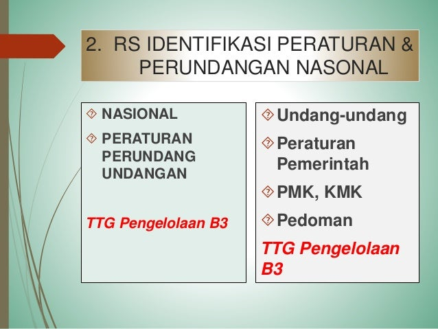 2. Identifikasi Peraturan Nasional UU 32 Tahun 2009 • PP 74/Thn 2001 • PP 18 jo PP 85 Tahun 1999 Peraturan Lainnya Perlind...