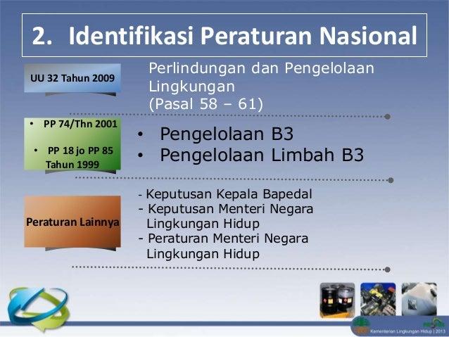 2. Identifikasi Peraturan & Perundangan Pengelolaan B3 & Limbah Tentang UU 32/2009 Perlindungan dan Pengelolaan Lingkungan...