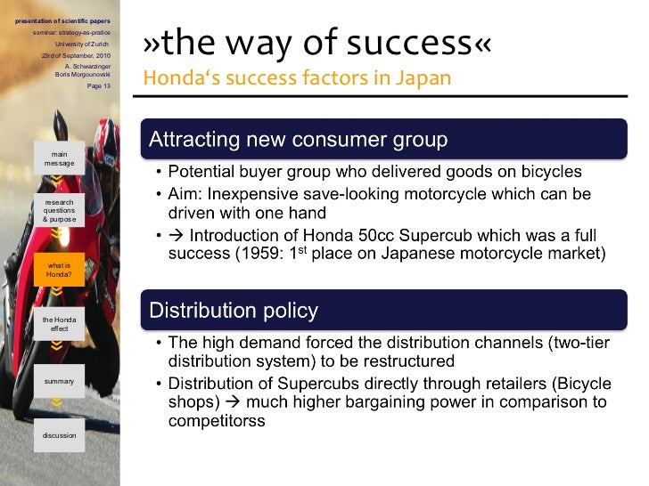 the honda effect pascale February 3, 2010 summary for the honda effect posted in uncategorized at 4:35 pm by strategicthgr3 group 3 the honda effect i strategy defined.