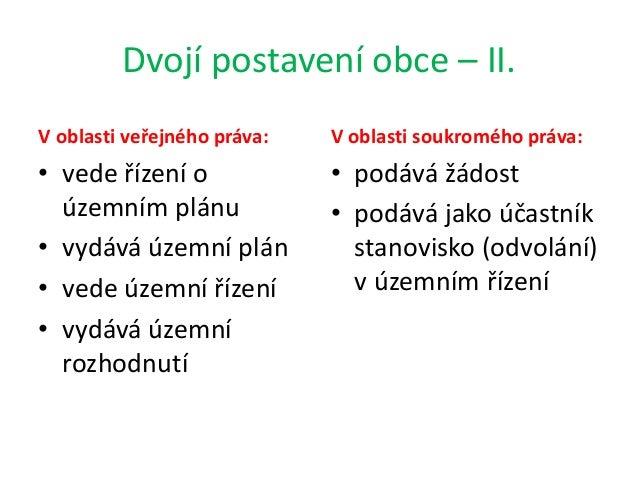 Dvojí postavení obce – II. V oblasti veřejného práva: • vede řízení o územním plánu • vydává územní plán • vede územní říz...