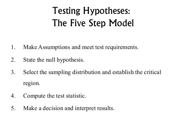 hypothesis testing 5 steps and logic Logical hypotheses (predictions, deductions) (p 367) predictions must meet the following criteria: 1 if the model is correct, then under some new set of circumstances, specific predicted observations will occur the deducibility criteria of giere: if h then p if the prediction is logically deduced from the model: it is impossible.