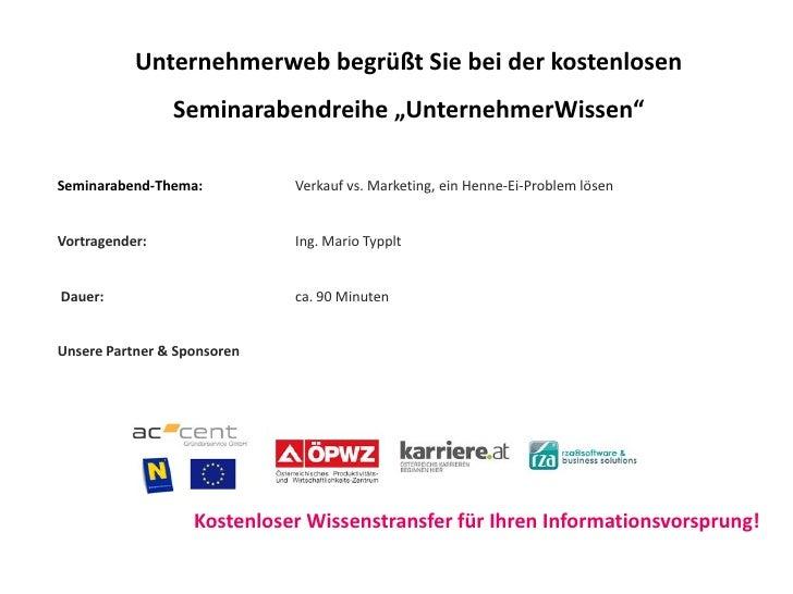 """Unternehmerweb begrüßt Sie bei der kostenlosen                 Seminarabendreihe """"UnternehmerWissen""""  Seminarabend-Thema: ..."""