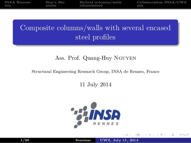 INSA Rennes Huy's Bio Hybrid columns/walls Collaboration INSA-UWS Composite columns/walls with several encased steel profil...