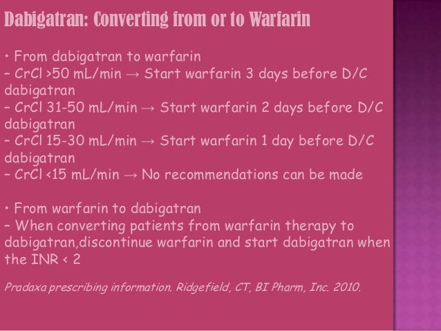 PROPOSED INDICATIONS FOR USE OF DABIGATRAN: 1. For prevention of deep vein thrombosis upto one month after orthopedic surg...